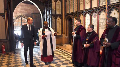 """Prince William read a passage from the bible that said: """"Faith, hope and love abide, these three; but the greatest of these is love."""" (AAP)"""