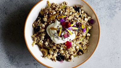 """Recipe:<a href=""""http://kitchen.nine.com.au/2017/02/17/12/55/caramelised-apple-and-blueberry-crumble-bowl"""" target=""""_top"""">Caramelised apple and blueberry crumble bowl</a>"""