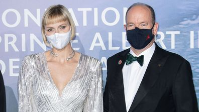 Princess Charlene and Prince Albert of Monaco in face masks