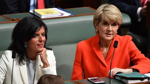 Julie Bishop, right, and Julie Banks on the backbench during Question Time this week.