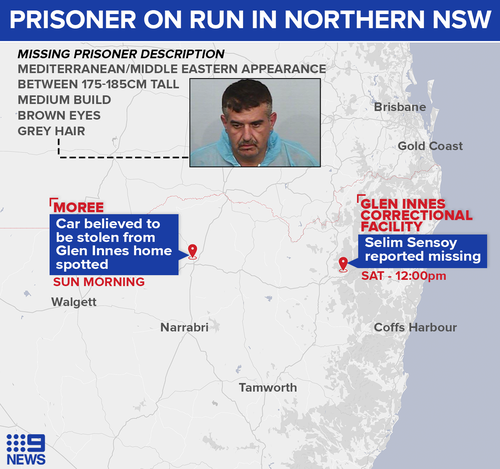 Prisoner remains on the run in Northern NSW.