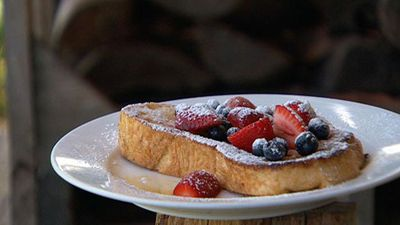 """Recipe:<a href=""""http://kitchen.nine.com.au/2016/05/19/16/59/bbq-french-toast"""" target=""""_top"""">Barbecued French toast with summer berries</a>"""
