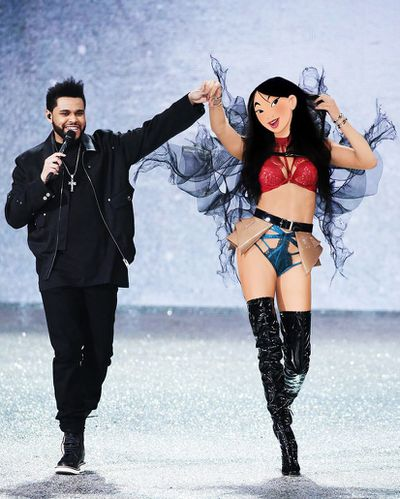 Adriana Lima as Mulan and The Weeknd