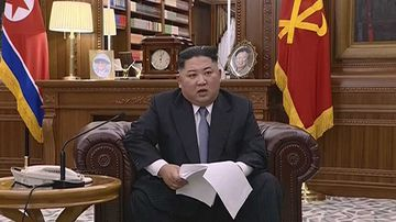Kim Jong-un making his New Year's address.