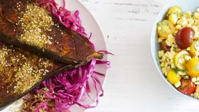 Roast turmeric cinnamon dukkah eggplant with pickled red cabbage