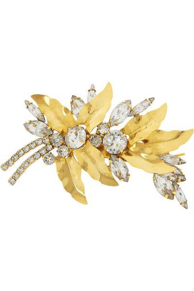 "<p><a href=""http://www.net-a-porter.com/product/457384?cm_sp=we_recommend-_-457384-_-0"" target=""_blank"">Aspen gold-tone Swarovski crystal hairclip,$312.63, Jennifer Behr</a><br><br></p>"