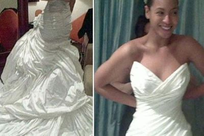 Beyonce and Jay Z married in secret in 2008. <br/><br/>Photos of her wedding dress showed up years later in a montage reel for one of her tours.