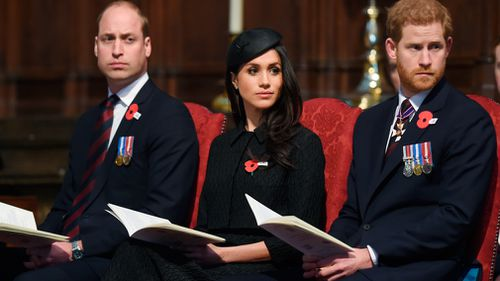 The trio took part in the Anzac Day service at Westminster Abbey. (PA/AAP)