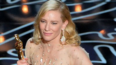 A teary Cate Blanchett accepts the Best Actress Oscar for her role in Blue Jasmine. (All images Getty/AAP)