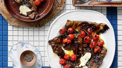 "<a href=""http://kitchen.nine.com.au/2016/05/16/18/13/kefalograviera-baked-in-vine-leaves-with-cherry-tomatoes"" target=""_top"">Kefalograviera baked in vine leaves with cherry tomatoes<br /> </a>"