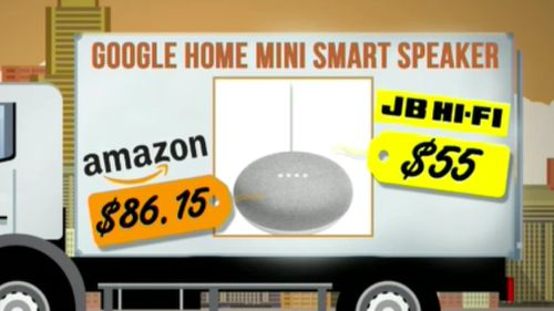 Google's Home Mini Smart Speaker is more expensive on Amazon.