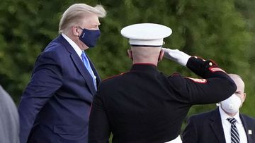 President Donald Trump arrives at Walter Reed National Military Medical Center, in Bethesda, Maryland on October 2.