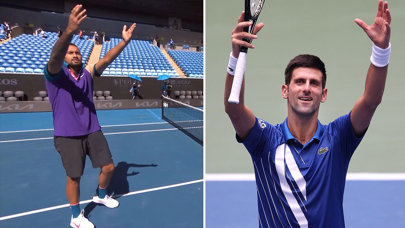 Nick Kyrgios mocks Novak Djokovic's patented celebration