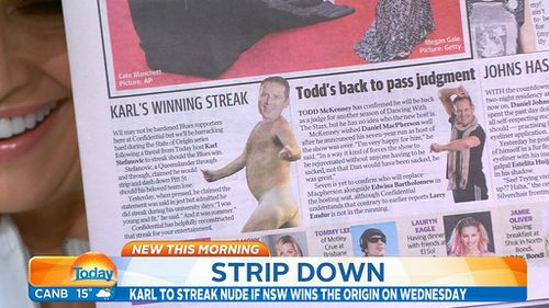 A News Corp artist's impression of Karl's nudie run. (9NEWS)