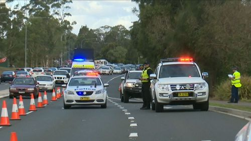 Traffic was banked up as lanes were closed. (9NEWS)