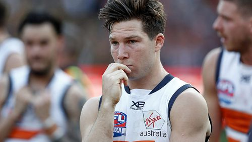 Toby Greene of the Giants looks dejected after the 2019 AFL Grand Final