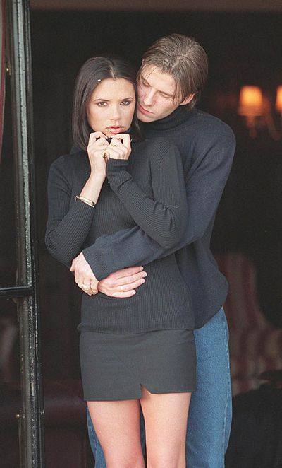 <p>Matchy Matchy</p> <p>A raven-haired Victoria and beach-blonde David showed an early affliction for couple dressing with matching turtlenecks in 1997.</p>