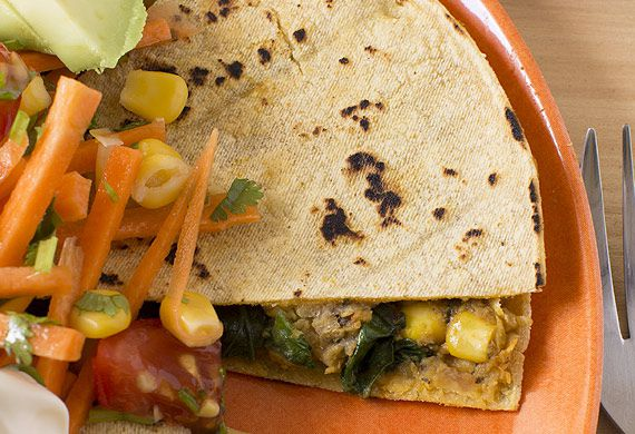 Spinach, corn and refried bean quesadillas with Mexican salad
