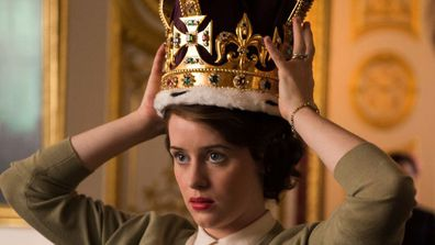 Claire Foy as Queen Elizabeth in The Crown trying on the a replica of the St Edward's Crown 2