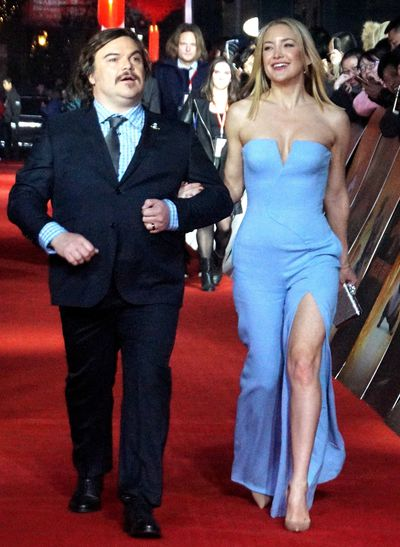 Actress Kate Hudson (R) and actor Jack Black attend premiere of 'Kung Fu Panda 3' at Shanghai New World on January 18, 2016