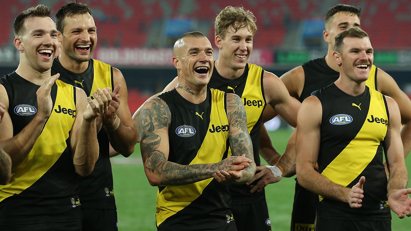 'Marry my sister!': Tigers fan's hilarious proposal before Dustin Martin's wondergoal against Eagles
