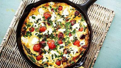"Recipe:&nbsp;<a href=""http://kitchen.nine.com.au/2016/05/05/13/30/chorizo-tomato-and-feta-pan-omelette"" target=""_top"">Chorizo, tomato and feta pan omelette</a>"