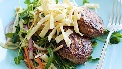 "Recipe:&nbsp;<a href=""http://kitchen.nine.com.au/2016/05/19/17/26/hoisin-pork-rissoles-with-asian-coleslaw"" target=""_top"">Hoisin pork rissoles with asian coleslaw<br /> </a>"