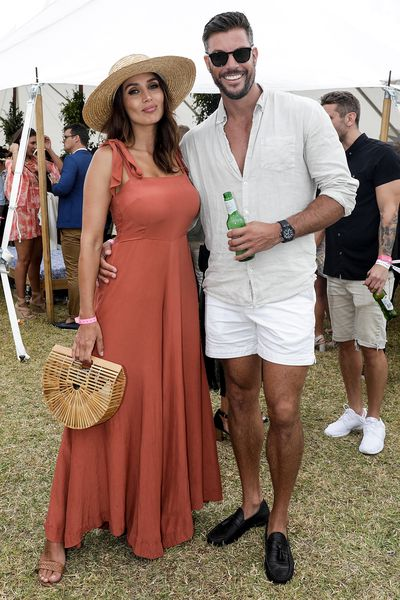 Former <em>Bachelorette </em>star Snezana Markoski and fitness guru and former&nbsp;<em>Bachelor</em>&nbsp; Sam Wood at the 2018 Portsea Polo. Snezana dressed by SWF Boutique&nbsp;