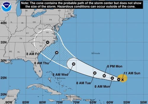 National Oceanic and Atmospheric Administration (NOAA) data shows forecast cone for the storm center of hurricane Florence. According to reports, Florence is expected to strengthen to a category four hurricane and impact the east coast of the US between 13 and 14 September. (AAP)