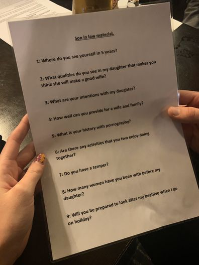 The protective father had nine questions for his daughters new boyfriend