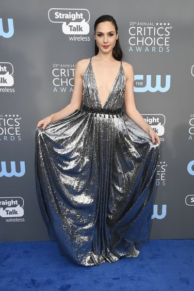 <em>Wonder Woman </em>star Gal Gadot in&nbsp;Prada at the 2018 Critics Choice Awards