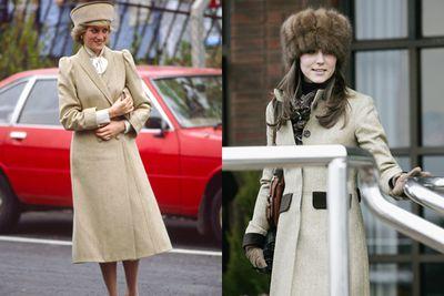 Long beige coats and statement hats.