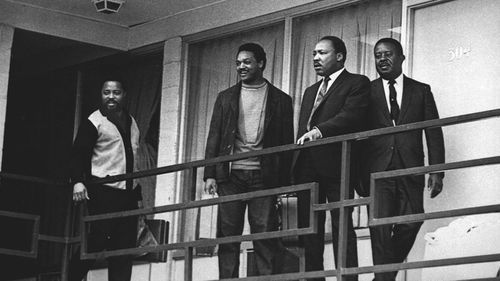 Martin Luther King Jr is seen on the balcony of the Lorraine Motel in Memphis, Tennessee, on April 3, 1968, the day before he was assassinated there. (AAP)