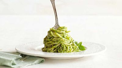 """A classic pasta is always a winner, and with our <a href=""""http://kitchen.nine.com.au/2016/05/20/10/45/basil-walnut-pesto-spaghetti"""" target=""""_top"""">basil walnut pesto spaghetti</a> recipe you can even have a go at your own version of a Lady and the Tramp style spaghetti kiss, romantic..."""