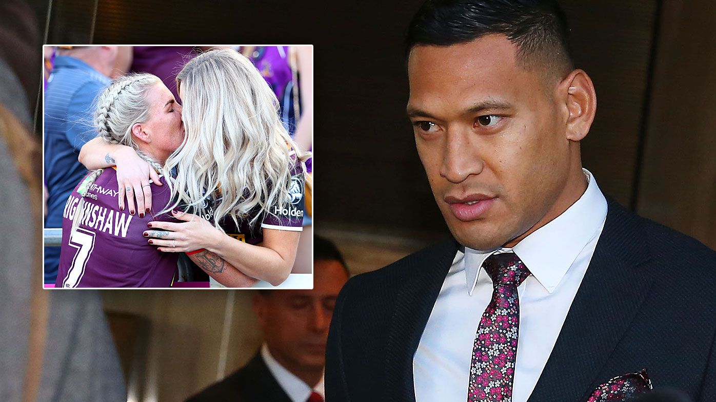 Israel Folau has a surprise supporter in Ali Brigginshaw