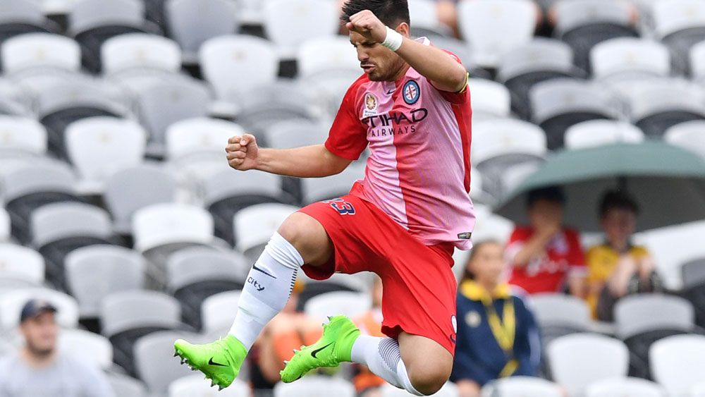 Melbourne City's Bruno Fornaroli in action against Central Coast Mariners in the A-League.