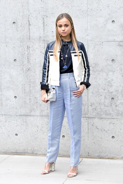 Lady Amelia Windsor in Armani at the Emporio Armani show during Milan Fashion Week, February, 2018