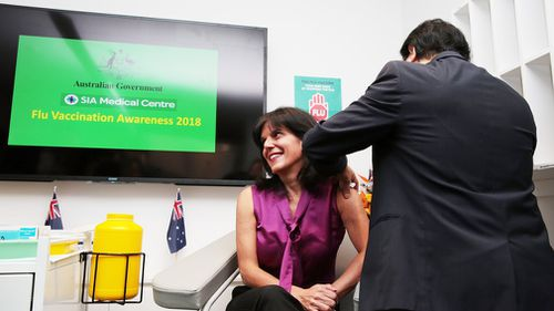 A member of the public receives a flu shot. Picture: AAP