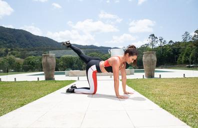 Emily Skye leg raise pulse exercise