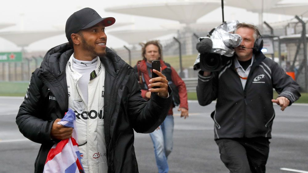 Lewis Hamilton preparing for the Chinese Grand Prix. (AAP)