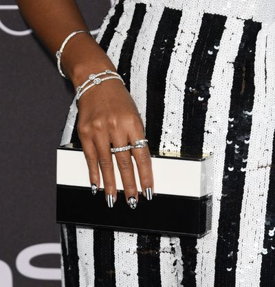 <p>Janelle Monae sparkled from head to toe even sporting pearls in her hair, but it was her Forevermark diamonds that caught our eyes. Oh and that incredible black and white geometric manicure.</p> <p>Image: Getty.</p>