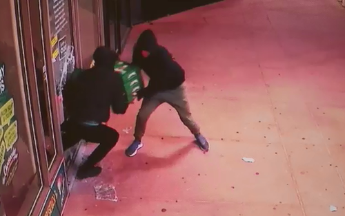 CCTV caught the cheesecake thieves in the act. (Victoria Police)