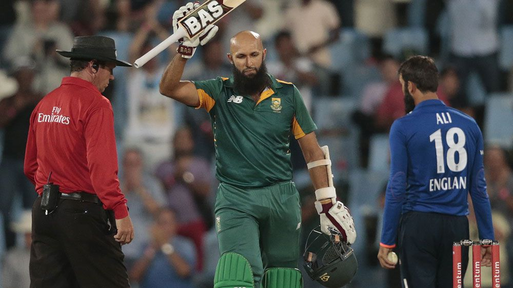 Hashim Amla celebrates his century for South Africa. (AFP)