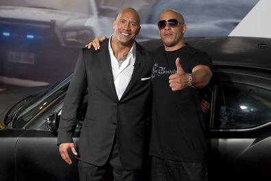 Dwayne Johnson and Vin Diesel during the premiere of the movie Fast and Furious 5 at Cinepolis Lagoon on April 15, 2011 in Rio de Janeiro, Brazil.
