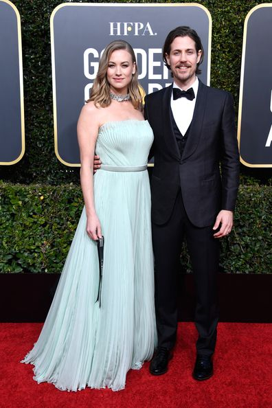 Yvonne Strahovski and husband Tim Loden attend the 76th Annual Golden Globe Awards at The Beverly Hilton Hotel on January 6, 2019 in Beverly Hills, California.