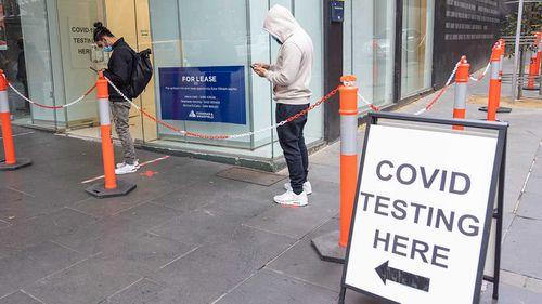 A coronavirus testing queue in Melbourne.