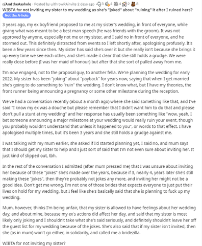 The bride-to-be has explained her problem on Reddit.