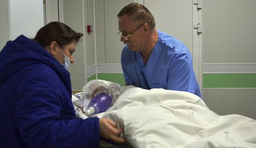 A ten-year-old survivor who was rushed to hospital after surviving the gas explosion in Russia.