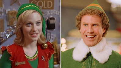 Elf co-stars Will Ferrell and Zooey Deschanel.