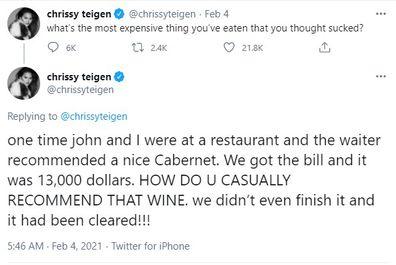 Chrissy Teigen, tweet, Twitter, wine, comments